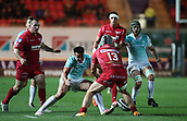 29th September 2017, Parc y Scarlets, Llanelli, Wales; Guinness Pro14 Rugby, Scarlets versus Connacht; Jonathan Davies of Scarlets makes a mistake and drops the ball as he is put under pressure
