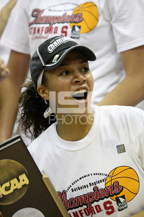 BERKELEY, CA - MARCH 30: Ros Gold-Onwude poses with the regional champions trophy following Stanford's 74-53 win against the Iowa State Cyclones on March 30, 2009 at Haas Pavilion in Berkeley, California.