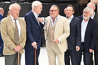 LONDON, UK. September 12, 2018: Charlie Cox, Sir Michael Gambon, Sir Michael Caine, Ray Winstone, Paul Whitehouse, Sir Tom Courtenay &amp; Jim Broadbent at the World Premiere of &quot;King of Thieves&quot; at the Vue Cinema, Leicester Square, London.<br /> Picture: Steve Vas/Featureflash
