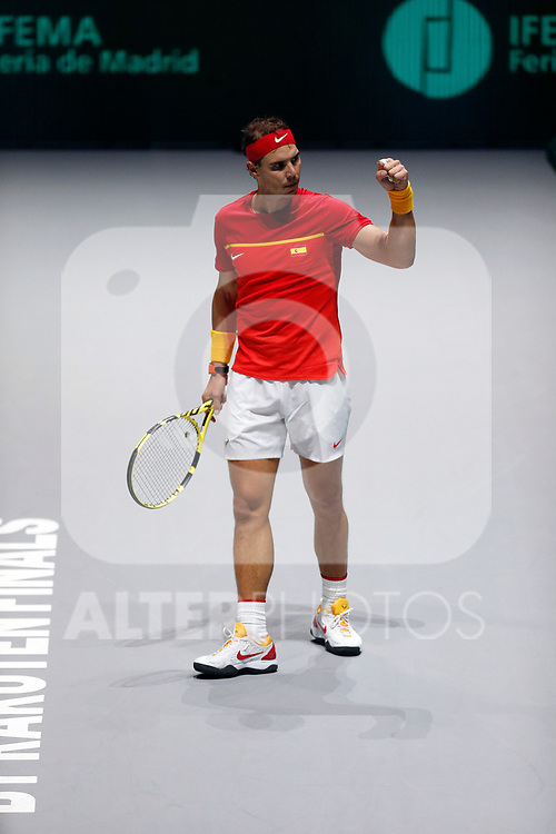 Rafael Nadal of Spain celebrates victory after his singles match against against Rafael Nadal of Spain during Day 2 of the 2019 Davis Cup at La Caja Magica on November 19, 2019 in Madrid, Spain. (ALTERPHOTOS/Manu R.B.)