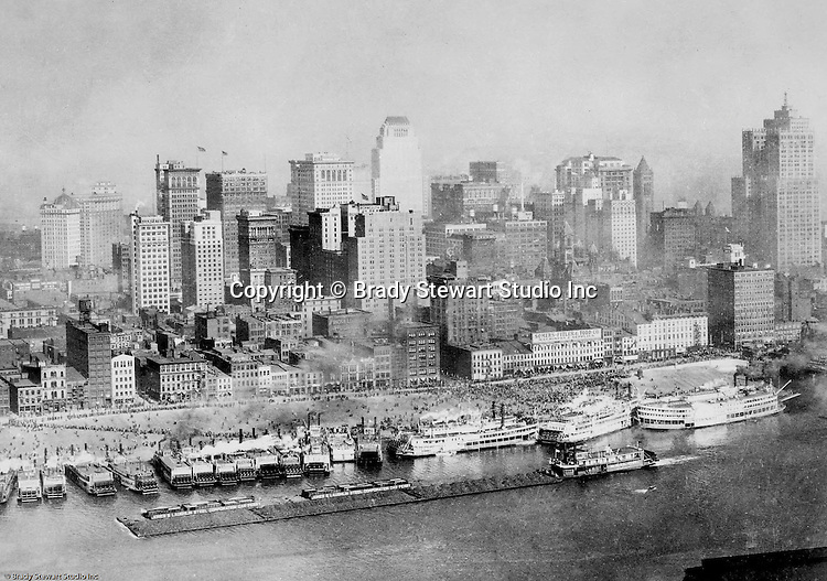 Pittsburgh PA:  View of the Pittsburgh skyline with the additional of the new Grant and Koppers Buildings in 1929.