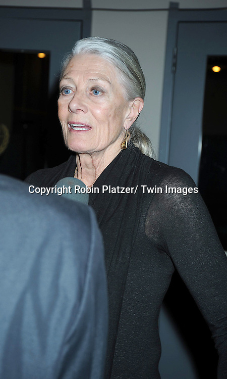 "Vanessa  Redgrave attending the premiere of"" Miral"" at The United Nations on March 14, 2011 in New York City. Julian Schnabel directed the movie which is from the book by his girlfriend Rula Jebreal."