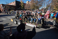 NWA Democrat-Gazette/J.T. WAMPLER  Veterans of the Vietnam War ride in a parade Sunday Nov. 8, 2015 in downtown Fayetteville. The parade was sponsored by the Northwest Arkansas Veterans Day Association. Several hundred people turned out to see the parade.