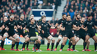 The All Blacks perform the Haka before the QBE International match between England and New Zealand at Twickenham Stadium on Saturday 8th November 2014 (Photo by Rob Munro)
