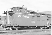 Caboose #0503 at Alamosa.<br /> D&amp;RGW  Alamosa, CO  Taken by Richardson, Robert W. - 1955