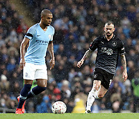 Manchester City's Fernandinho under pressure from Burnley's Steven Defour<br /> <br /> Photographer Rich Linley/CameraSport<br /> <br /> Emirates FA Cup Fourth Round - Manchester City v Burnley - Saturday 26th January 2019 - The Etihad - Manchester<br />  <br /> World Copyright © 2019 CameraSport. All rights reserved. 43 Linden Ave. Countesthorpe. Leicester. England. LE8 5PG - Tel: +44 (0) 116 277 4147 - admin@camerasport.com - www.camerasport.com