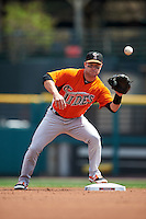 Norfolk Tides second baseman Jayson Nix (12) waits for a throw to force out a runner during a game against the Rochester Red Wings on May 3, 2015 at Frontier Field in Rochester, New York.  Rochester defeated Norfolk 7-3.  (Mike Janes/Four Seam Images)