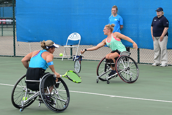 Jordanne Whiley (GBR), right, and doubles partner Lucy Shuker (GBR) in action during the British Open UNIQLO Wheelchair Tennis Tour at Nottingham Tennis Centre.<br /> <br /> Picture: Chris Vaughan/James Jordan Photography/Tennis Foundation<br /> Date: July 27, 2016