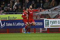 Ollie Palmer (R) of Crawley Town celebrates his second goal in the first half during Crawley Town vs Bradford City, Sky Bet EFL League 2 Football at Broadfield Stadium on 11th January 2020