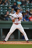 Right fielder Ryan Scott (30) of the Greenville Drive bats in a game against the Lexington Legends on Wednesday, April 12, 2017, at Fluor Field at the West End in Greenville, South Carolina. Greenville won, 4-1. (Tom Priddy/Four Seam Images)