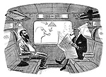 (Artist and businessman in train. Businessman is smoking in a no smoking compartment and the artist has drawn a picture on the window pointing at the sign)