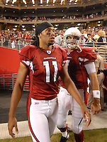 Aug 25, 2007; Glendale, AZ, USA; Arizona Cardinals wide receiver Larry Fitzgerald (11) and quarterback Matt Leinart (7) against the San Diego Chargers at University of Phoenix Stadium. San Diego defeated Arizona 33-31. Mandatory Credit: Mark J. Rebilas-US PRESSWIRE