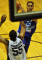 Troy McLean tries to pass past Michael Harrison during the NBL Round 12 match between the Wellington Saints and Nelson Giants at TSB Bank Arena, Wellington, New Zealand on Thursday 15 May 2008. Photo: Dave Lintott / lintottphoto.co.nz