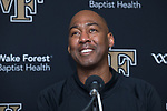 Wake Forest Demon Deacons head coach Danny Manning smiles during the post game press conference following the win over the Syracuse Orange at the LJVM Coliseum on January 3, 2018 in Winston-Salem, North Carolina.  The Demon Deacons defeated the Orange 73-67.  (Brian Westerholt/Sports On Film)