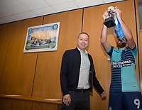 Paul Hayes of Wycombe Wanderers lifts the Cup after being handed from Cherry Red Records Owner during the Friendly match between Wycombe Wanderers and AFC Wimbledon at Adams Park, High Wycombe, England on 25 July 2017. Photo by Andy Rowland.