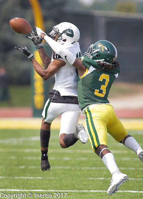 SPEARFISH, SD: SEPTEMBER 2: Chris James #3 of Black Hills State breaks up a pass intended for Marquese Surrell #18 of Adams State during their game Saturday at Lyle Hare Stadium in Spearfish, S.D.   (Photo by Dick Carlson/Inertia)