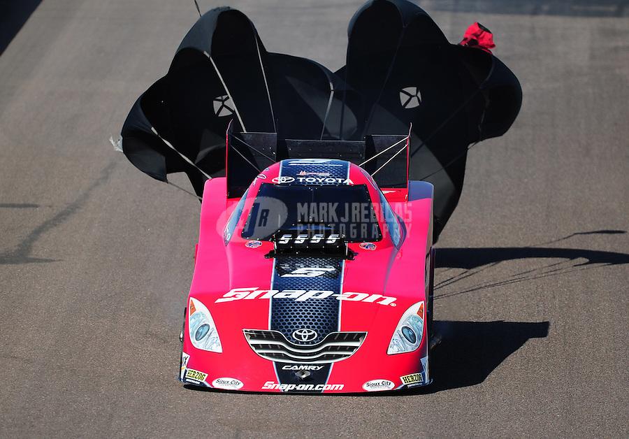 Feb. 18, 2012; Chandler, AZ, USA; NHRA funny car driver Cruz Pedregon during qualifying for the Arizona Nationals at Firebird International Raceway. Mandatory Credit: Mark J. Rebilas-