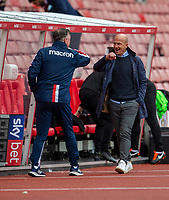 4th July 2020; Bet365 Stadium, Stoke, Staffordshire, England; English Championship Football, Stoke City versus Barnsley; Stoke City Manager Michael O'Neill and Barnsley manager Gerhard Struber fist bump