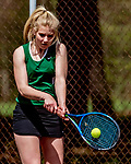 12 May 2018: Saint Johnsbury High School Ladies' Tennis team visits Burlington High School to compete at Leddy Park in Burlington, Vermont. Mandatory Credit: Ed Wolfstein Photo *** RAW (NEF) Image File Available ***