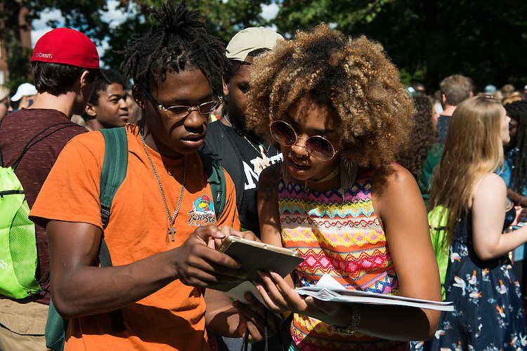 Jordan Gavins, left, and Candice Anard attend the Campus Involvement Fair on College Green on August 21, 2016