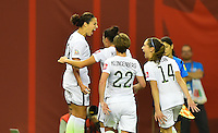 Montreal, Canada - Tuesday, June 30, 2015: The USWNT go ahead of Germany 1-0 in Semi-final action during FIFA Women's World Cup 2015 at Olympic Stadium.