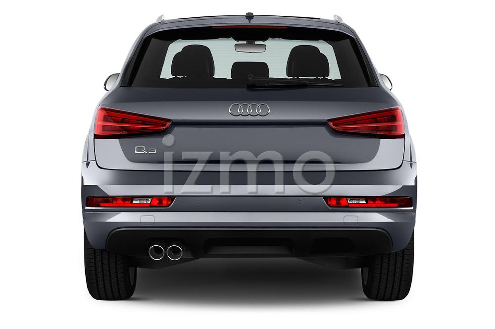 Straight rear view of 2018 Audi Q3  2.0T-FWD-tiptronic-Premium-Plus  5 Door SUV stock images
