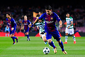 5th December 2017, Camp Nou, Barcelona, Spain; UEFA Champions League football, FC Barcelona versus Sporting Lisbon; Luis Suarez of FC Barcelona run with the ball