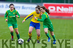 Kerry's Andrea Murphy and Grainne Kennedy tussle with Tipperary's Lucy Purcell for possession in their U13 encounter on Sunday.