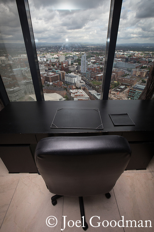 © Joel Goodman - 07973 332324 . 24 June 2013 . Orchid Suite , Beetham Tower , Manchester , UK . Office .  Former triplex apartment home of Phil and Julie Neville , which is up for rent and thought to be the most expensive in Manchester . Photo credit : Joel Goodman