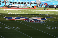 2nd February 2020, Miami Gardens, Miami, Florida USA; Superbowl LIV, Kansas City Chiefs versus San Francisco 49ers;   A general  view of the NFL 100th Anniversary Logo on the field inside Hard Rock Stadium  prior to Super Bowl LIV on February 2, 2020 at Hard Rock Stadium