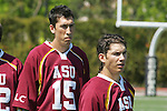 Orange, CA 05/02/10 - Ryan Westfall (ASU # 15) listens to the national anthem before the MCLA SLC Division I championship game against Chapman.