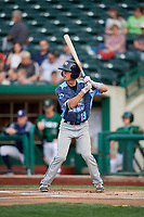 West Michigan Whitecaps shortstop Cole Peterson (19) at bat during a game against the Fort Wayne TinCaps on May 17, 2018 at Parkview Field in Fort Wayne, Indiana.  Fort Wayne defeated West Michigan 7-3.  (Mike Janes/Four Seam Images)
