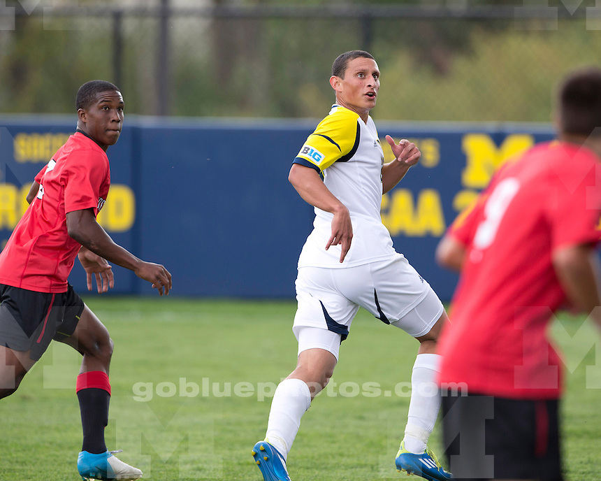 The University of Michigan men's soccer team beat Northeastern, 4-1, at the U-M Soccer Stadium in Ann Arbor, Mich., on September 9, 2012.