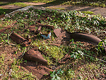 Rusted car parts at the former Dana Common in The Quabbin Reservoir