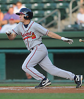 Outfielder Tony Mueller (10) of the Rome Braves, Class A affiliate of the Atlanta Braves, in a game against the Greenville Drive on July 17, 2011, at Fluor Field at the West End in Greenville, South Carolina. (Tom Priddy/Four Seam Images)