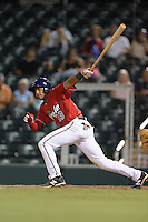 Fort Myers Miracle second baseman Aderlin Mejia (13) at bat during a game against the Tampa Yankees on April 15, 2015 at Hammond Stadium in Fort Myers, Florida.  Tampa defeated Fort Myers 3-1 in eleven innings.  (Mike Janes/Four Seam Images)