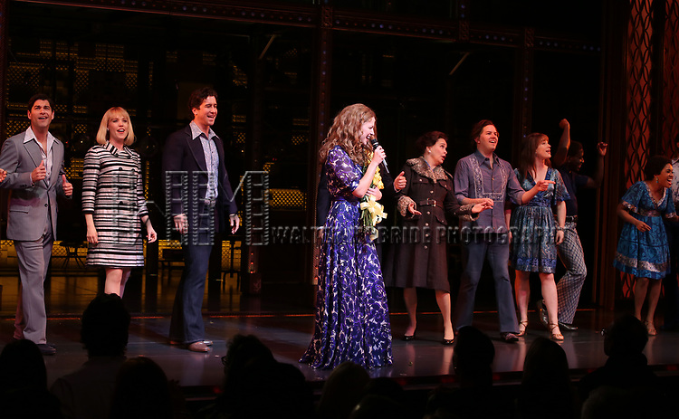 Melissa Benoit with Ben Jacoby, Jessica Keenan Wynn, Evan Todd, Paul Anthony Stewart, Nancy Opel  during her Opening Night debut bows in 'Beautiful-The Carole King Musical' at the Stephen Sondheim on June 12, 2018 in New York City.
