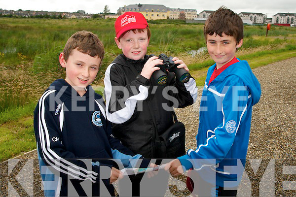 Searching for the flags during the orienteering activity on day three of the 'Eco Explorers' Nature and Activity Camp at the Tralee Bay Wetlands Centre. Pictured l-r: Conn Marley, Adam Butler and Niall Marley.