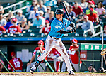 1 March 2019: Miami Marlins infielder JT Riddle at bat during a Spring Training game against the Washington Nationals at Roger Dean Stadium in Jupiter, Florida. The Nationals defeated the Marlins 5-4 in Grapefruit League play. Mandatory Credit: Ed Wolfstein Photo *** RAW (NEF) Image File Available ***