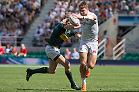 Twickenham, United Kingdom. 3rd June 2018, HSBC London Sevens Series. Game 38 Cup Semi Final. South Africa vs England. <br /> <br /> Englands, Harry GLOVER, with a good grip on the ball, during the Rugby 7's, match played at the  RFU Stadium, Twickenham, England, <br /> <br /> <br /> <br /> &copy; Peter SPURRIER/Alamy Live News