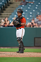 Bowie Baysox catcher Audry Perez (3) during the first game of a doubleheader against the Trenton Thunder on June 13, 2018 at Prince George's Stadium in Bowie, Maryland.  Trenton defeated Bowie 4-3.  (Mike Janes/Four Seam Images)