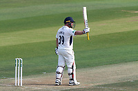 Paul Stirling of Middlesex celebrates scoring a half-century, 50 runs during Essex CCC vs Middlesex CCC, Specsavers County Championship Division 1 Cricket at The Cloudfm County Ground on 26th June 2017