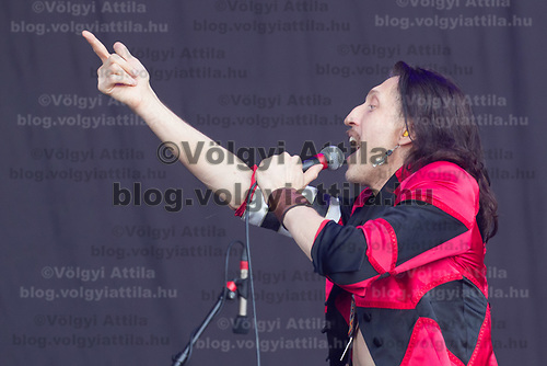 Lead vocalist Eugene Hutz of Ukraine plays a guitar on a concert with American punk band Gogol Bordello performing on the Main stage of American punk band Gogol Bordello performs on the Main stage of Sziget Festival held in Budapest, Hungary on Aug. 14, 2018. ATTILA VOLGYI