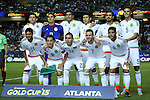 22 July 2015: Mexico's starter. Front row (from left): Carlos Vela (MEX), Andres Guardado (MEX), Paul Aguilar (MEX), Miguel Layun (MEX), Jonathan dos Santos (MEX). Back row (from left): Hector Herrera (MEX), Guillermo Ochoa (MEX), Francisco Javier Rodriguez (MEX), Oribe Peralta (MEX), Oswaldo Alanis (MEX), Diego Reyes (MEX). The Panama Men's National Team played the Mexico Men's National Team at the Georgia Dome in Atlanta, Georgia in a 2015 CONCACAF Gold Cup semifinal match.