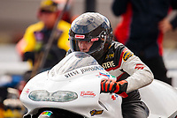 Oct 12, 2019; Concord, NC, USA; NHRA pro stock motorcycle rider Steve Johnson during qualifying for the Carolina Nationals at zMax Dragway. Mandatory Credit: Mark J. Rebilas-USA TODAY Sports