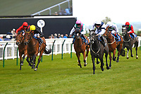 Winner of The Byerley Stud British EBF Fillies' Handicap Bella Vita (white cap right) ridden by Charles Bishop and trained by Eve Johnston Houghton during Afternoon Racing at Salisbury Racecourse on 16th May 2019