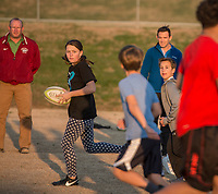 NWA Democrat-Gazette/ANTHONY REYES @NWATONYR<br /> Alyssa Roberts, 13, goes through rugby drills Wednesday March 8, 2017 at the Tyson Sports Complex in Springdale. Youth rugby teams have been put together through Springdale Parks and Recreation.