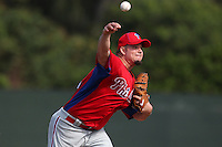Philadelphia Phillies pitcher Joe Blanton #56 during practice at the Carpenter Complex on February 27, 2012 in Clearwater, Florida.  (Mike Janes/Four Seam Images)