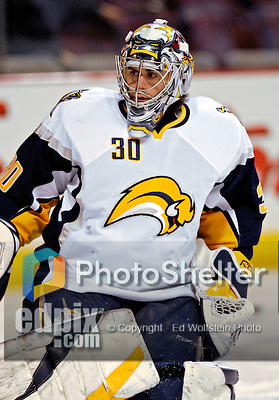 31 March 2007: Buffalo Sabres goaltender Ryan Miller warms up prior to a game between the Montreal Canadiens and the Sabres at the Bell Centre in Montreal, Canada...Mandatory Photo Credit: Ed Wolfstein Photo *** Editorial Sales through Icon Sports Media *** www.iconsportsmedia.com