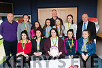 Pictured at the Kingdom Greyhound Stadium Kerry Area Basketball Board awards and medal presentation on Tuesday evening last were St. Bridget's Basketball team Currow Under 16 Girls Division 2, front l-r: Maura O'Connor, Orla O'Sullivan, Siobhan Brosnan, Gabrielle O'Brien and Cait O'Mahony. Back Denis Porter (coach), Joyce O'Connor Maura O'Connor, Edel Brosnan, Bertie Griffin, Ciara Fitzgerald, Grace Daly and Jerry Dwyer (Lee Strand).